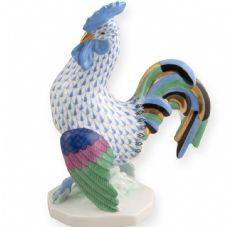 Herend Porcelain Fishnet Figurine of a Rooster